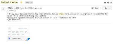timeline email